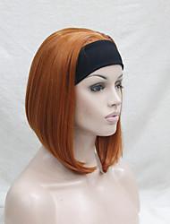 New Fashion 3/4 wig With Headband  Orange Brown Short Synthetic Half Wig