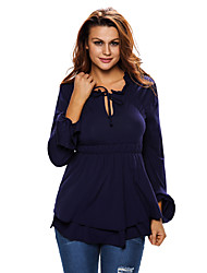 Women's Navy Drawstring V Neck Elastic Long Sleeve Top