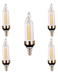 4W E14 Luz de Decoração 2 COB 300-400 lm Branco Quente / Branco Frio Decorativa V 5 pçs