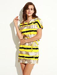 Women's Simple Striped Plus Size Dress,Round Neck Above Knee Cotton / Linen