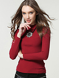 Women's Casual/Daily Simple / Street chic All Match Fashion Regular PulloverSolid  Jewel Long Sleeve Spring