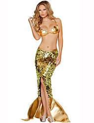 Cola de Sirena Cuento de Hadas Festival/Celebración Disfraces de Halloween Dorado Un Color VestidoHalloween Navidad Carnaval Día del Niño