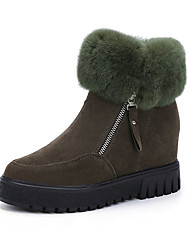 Women's Boots Winter Platform Leather Casual Low Heel Platform Zipper Black Green Mahogany Walking