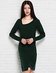 Feminino Tricô Vestido,Casual Simples Sólido Assimétrico Altura dos Joelhos Manga Longa Azul / Verde Lã Outono Cintura Média