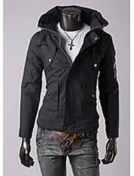 Men's Casual/Daily Simple Jackets,Solid Long Sleeve Blue / Black / Orange Cotton