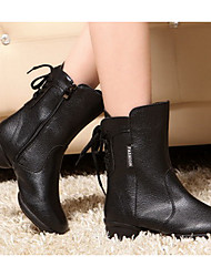 Customizable Women's Dance Shoes Leather Leather Swing Shoes Boots Chunky Heel Outdoor Black / Red