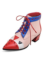 Women's Boots Spring Fall Ankle Strap PU Office & Career Casual Athletic Chunky Heel Rivet Lace-up Flower Split Joint Red GrayHiking