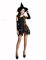 Sorcier/Sorcière Fête / Célébration Déguisement Halloween Noir Couleur Pleine Robe / Chapeau / CulottesHalloween / Noël / Carnaval / Le