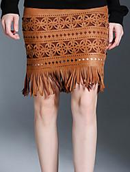 Damen Röcke,Stifte einfarbig Quaste,Lässig/Alltäglich Vintage / Einfach Mittlere Hüfthöhe Über dem Knie Elastizität Polyester / Elasthan