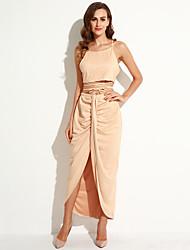 Women's  Faux Suede Two Piece Maxi Skirt Set