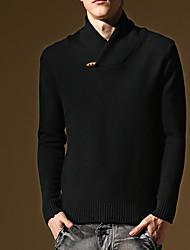 Herren Standard Pullover-Ausgehen Lässig/Alltäglich Retro Street Schick Solide Schwarz Rundhalsausschnitt Langarm Kunst-Pelz Baumwolle