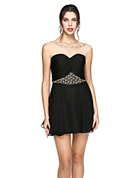 TS Couture Cocktail Party Prom Dress - Mini Me Little Black Dress A-line Jewel Short / Mini Chiffon with Beading Criss Cross