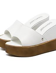 Damen-Sandalen-Lässig-PU-KeilabsatzSchwarz Weiß