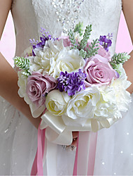 Hand Made Bridal Bridesmaid Wedding Bouquet White Light Purple Artificial Rose Flower Wedding Bride Holding Flowers