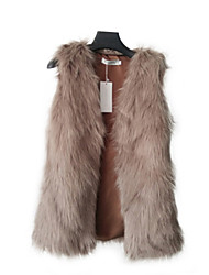 Women's Going out / Party/Cocktail Vintage Fur Coat,Solid Sleeveless Winter Brown Wool
