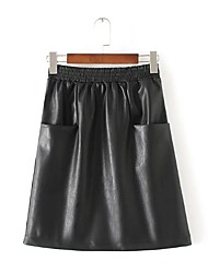 Women's Pencil Solid Skirts,Going out / Casual/Daily Simple / Street chic Mid Rise Knee-length Zipper PU Inelastic Fall / Winter