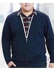 Herren Solide Einfach Lässig/Alltäglich T-shirt,Hemdkragen Frühling / Herbst Langarm Blau / Schwarz Baumwolle Mittel