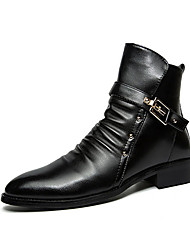 Men's Boots Winter Comfort PU Casual Flat Heel Buckle Black