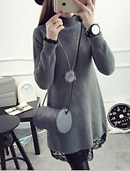 Women's Casual/Daily Simple Sweater Dress,Solid Turtleneck Knee-length Long Sleeve Gray / Purple Cotton / Polyester Fall / Winter Mid Rise