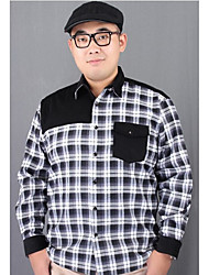 Men's Plus Size / Casual/Daily Simple Spring / Fall Shirt,Solid / Houndstooth Shirt Collar Long Sleeve Black / Green Cotton Medium