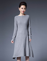 1898 Women's Casual/Daily Simple Sheath DressSolid Round Neck Asymmetrical Long Sleeve Gray Polyester / Nylon Fall / Winter Mid Rise