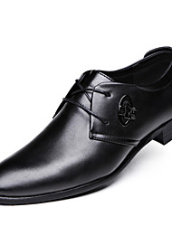 Men's Oxfords Fashion Leather Shoes Comfort Wedding Shoes Party & Evening Low Heel Lace-up Black EU37-42