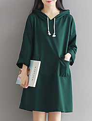 Women's Sweater chic Loose Dress Solid Hooded Knee-length Long Sleeve Red / Green Cotton Spring Mid Rise Micro-elastic Medium