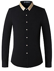 Men's Formal / Work / Club Sexy / Cute / Chinoiserie Fall / Winter Shirt,Solid Shirt Collar Long Sleeve Blue / White / Black Polyester