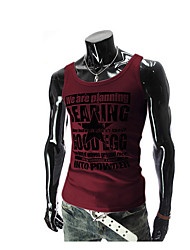 Men's Beach Active Tank Top,Print Round Neck Sleeveless Blue / Red / White / Black Cotton