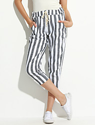 Women's Striped White Harem Pants,Street chic