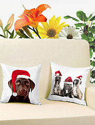 2 pcs Christmas Super Soft Short Plush Throw Case High Quingity Cotton Linen Decorative 2 Sides Printing Modern Contemporary Pillow Cover
