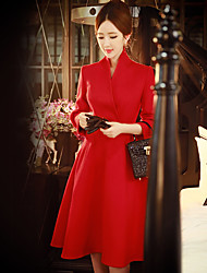Women's Going out / Casual/Daily / Party/Cocktail Vintage / Street chic / Sophisticated A Line / Sheath / Swing Dress,Solid V Neck