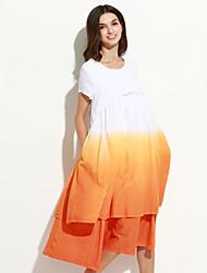 Mulheres Solto Vestido,Casual Chinoiserie Color Block Decote Redondo Médio Manga Curta Verde / Laranja Linho Verão