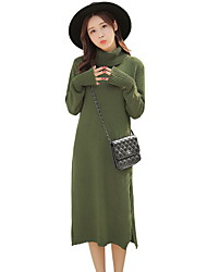 Women's Casual/Daily Simple Sweater Dress,Solid Turtleneck Midi Long Sleeve Red / Gray / Green Polyester Fall / Winter Mid Rise Stretchy