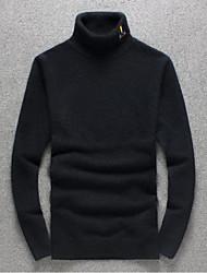 Herren Standard Pullover-Ausgehen Lässig/Alltäglich Einfach Solide Schwarz Lila Rollkragen Langarm Polyester Herbst Winter Mittel