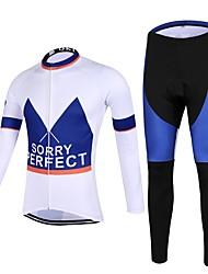 Esportivo Calça com Camisa para Ciclismo Homens Manga Comprida MotoRespirável / Secagem Rápida / Design Anatômico / Zíper Frontal /