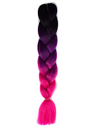 Black Violet Rose Ombre Crochet 24 Yaki Kanekalon 3 Tone Jumbo Braids 100g Synthetic Hair with Free Hook