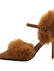 Women's Sandals Winter Comfort PU Dress Low Heel Others Black Brown Green