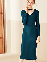 MASKED QUEEN Women's Casual/Daily Simple Bodycon DressSolid V Neck Midi Long Sleeve Blue Cotton Spring / Fall High Rise Stretchy Medium