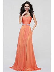Floor-length Chiffon Sexy Bridesmaid Dress - A-line Sweetheart with Draping / Sash / Ribbon / Split Front
