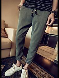 Masculino Simples Cintura Média Micro-Elástica Chinos Calças,Skinny Cor Única