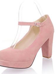 Feminino-Saltos-Sapatos com Bolsa Combinando-Salto Grosso-Preto / Azul / Amarelo / Rosa-Courino-Escritório & Trabalho / Social / Casual