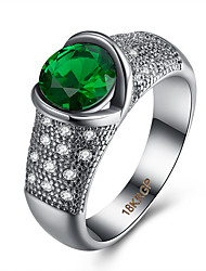 Wholesale Romantic Love Style Jewelry CZ Diamond Green Sapphire Silver Ring Size 6 7 8 9  Women Bridal Wedding