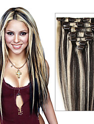 14-24inches 70g-120g Full Head Clip in 100% Real Remy Human Hair Extensions Straight  7pcs & 8pcs Multiple Color