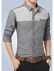 Men's Formal Simple Fall Shirt,Solid Shirt Collar Long Sleeve Blue / Gray Cotton Medium