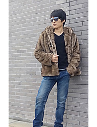 Men's Casual/Daily Simple Fur Coat,Solid Hooded Long Sleeve Winter Gray Faux Fur Medium