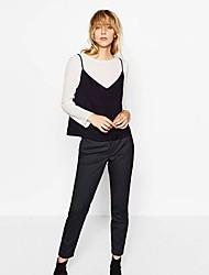 Damen Patchwork Einfach / Street Schick Ausgehen / Urlaub T-shirt,Rundhalsausschnitt Frühling / Herbst Langarm Weiß Baumwolle Mittel