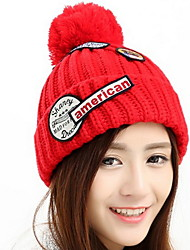 Men And Women Patch  Embroidery Winter Couples Knit Warm Wool Cap