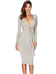 Women's Grey Multi-way Deep V Neck Knot Tie Long Sleeve Midi Dress