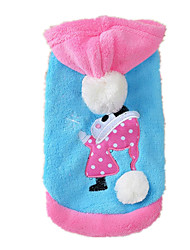 Dog Hoodie Red / Blue / Pink Dog Clothes Winter Cartoon Cute